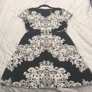Adrianna Papell black dress with blush design